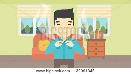 An asian man breaking the cigarette. Man crushing cigarette. Man holding broken cigarette on the background of living room. Quit smoking concept. Vector flat design illustration. Horizontal layout