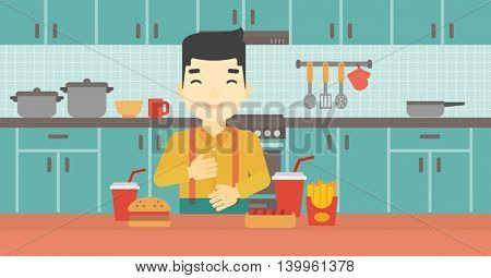 Smiling man with eyes closed touching his tummy. Satisfied man had the best ingestion. Man standing in front of table with fast food in the kitchen. Vector flat design illustration. Horizontal layout.