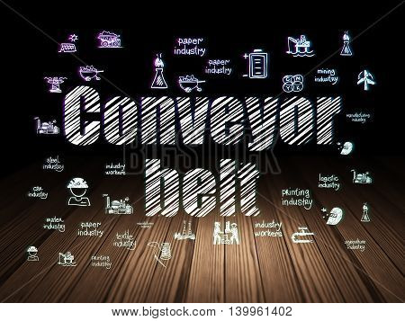 Industry concept: Glowing text Conveyor Belt,  Hand Drawn Industry Icons in grunge dark room with Wooden Floor, black background