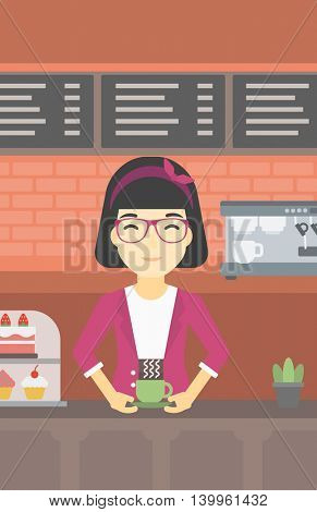 An asian young woman standing at the counter with cup of coffee on the background of bakery with pastry and coffee maker. Woman making coffee. Vector flat design illustration. Vertical layout.
