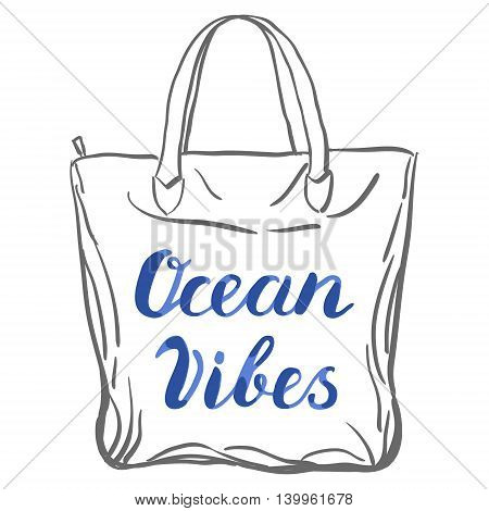 Ocean vibes. Brush hand lettering. Handwritten words on a sample tote bag. Great for beach tote bags, swimwear, holiday clothes, and more.