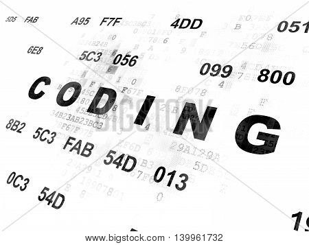Programming concept: Pixelated black text Coding on Digital wall background with Hexadecimal Code