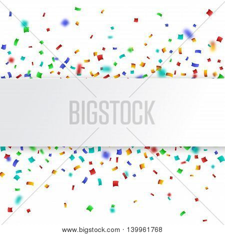 Colorful celebration background. Paper speech bubble with confetti. Vector Illustration.