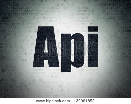 Programming concept: Painted black word Api on Digital Data Paper background