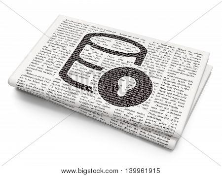 Programming concept: Pixelated black Database With Lock icon on Newspaper background, 3D rendering