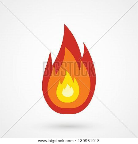 Red Fire Icon On A White Background. Simple Vector Illustration