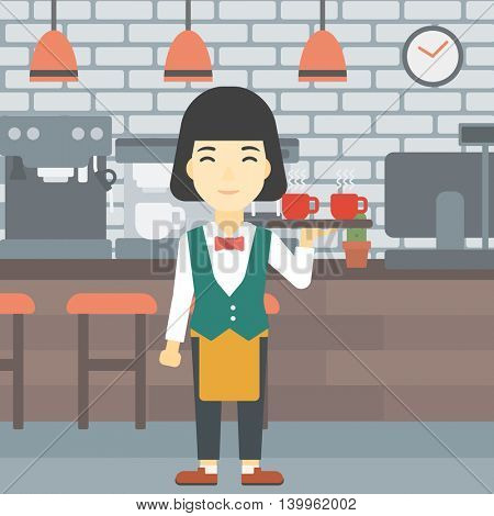 An asian young waitress holding a tray with cups of tea or coffee. Waiter with cups of coffee or tea at the bar. Vector flat design illustration. Square layout.