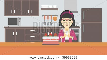 An asian happy woman looking with passion at a big cake. An excited woman standing in front of cake in the kitchen. Woman craving delicious cake. Vector flat design illustration. Horizontal layout.