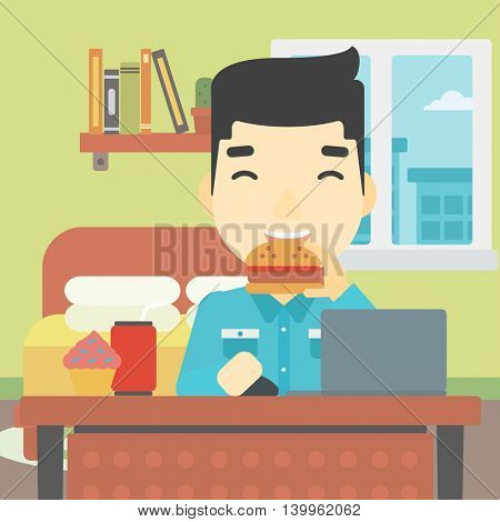 An asian young man working on laptop while eating junk food on the background of bedroom. Vector flat design illustration. Square layout.