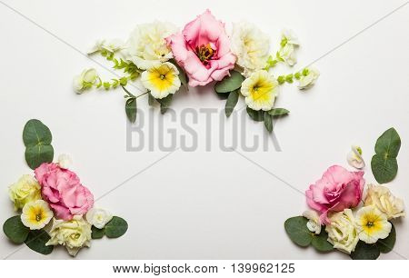 Festive flower composition on the white  background