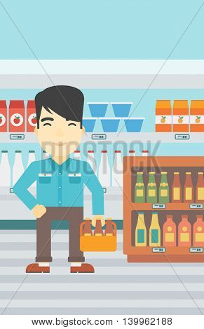 An asian man standing in alcohol store. Man holding pack of beer at supermarket. Man standing at alcohol section. Vector flat design illustration. Vertical layout.