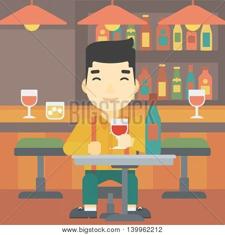 An asian man sitting at the table with glass and bottle of wine. Man drinking wine at bar. Man enjoying a drink at wine bar. Vector flat design illustration. Square layout.