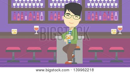 An asian man sitting at the bar counter. Man sitting with glass in bar. Cheerful young man sitting alone at the bar counter. Vector flat design illustration. Horizontal layout.