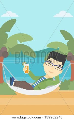 An asian young man chilling in hammock on the beach with a cocktail in a hand. Vector flat design illustration. Vertical layout.