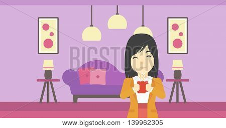 An asian woman drinking hot flavored coffee. Young smiling woman with cup of delicious coffee. Woman enjoying fresh coffee at home. Vector flat design illustration. Horizontal layout.
