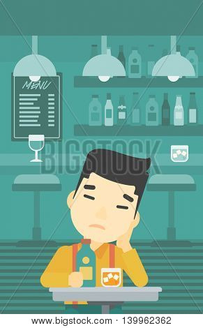 An asian sad man sitting at the bar with glass of alcoholic beverage. Young man sitting alone at the bar and drinking alcohol. Vector flat design illustration. Vertical layout.