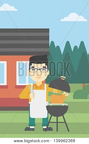 An asian man cooking chicken on barbecue grill in the backyard. Man having a barbecue party. Man preparing chicken on grill. Vector flat design illustration. Vertical layout.