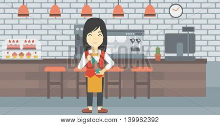 An asian young waitress holding a bottle in hands on the background of a cafe. Vector flat design illustration. Horizontal layout.