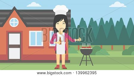 An asian woman with bottle in hand cooking meat on gas barbecue grill in the backyard and giving thumb up. Woman cooking meat on barbecue. Vector flat design illustration. Horizontal layout.