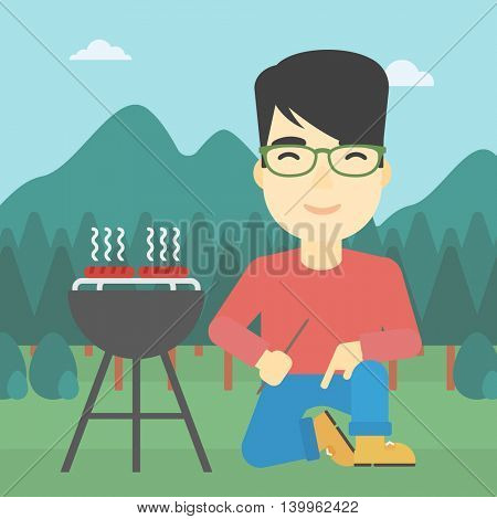 An asian man sitting next to barbecue grill in the park. Man cooking meat on the barbecue grill. Man having a barbecue party. Vector flat design illustration. Square layout.