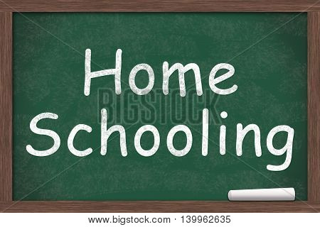 Chalkboard with text of Home Schooling with a piece of chalk, 3D Illustration