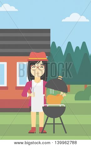 An asian woman cooking chicken on barbecue grill in the backyard. Woman having a barbecue party. Woman preparing chicken on the grill. Vector flat design illustration. Vertical layout.