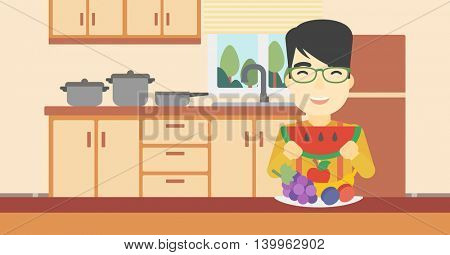 An asian man eating watermelon in front of table full of fresh fruits. Smiling young man holding a slice of watermelon in the kitchen. Vector flat design illustration. Horizontal layout.