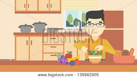 An asian young man cooking vegetable salad on the background of kitchen. Smiling man adding spices in salad. Vector flat design illustration. Horizontal layout.