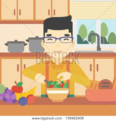 An asian young man cooking vegetable salad on the background of kitchen. Smiling man adding spices in salad. Vector flat design illustration. Square layout.