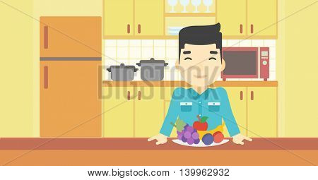 An asian man standing in front of table full of fresh fruits in the kitchen. Man with plate full of fruits. Vector flat design illustration. Horizontal layout.