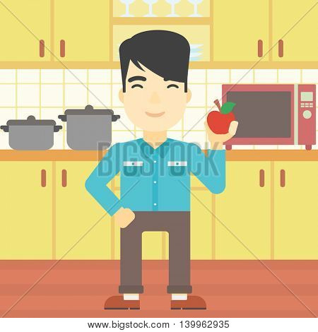An asian man holding an apple in the kitchen. Young man eating an apple in the kitchen. Man with an apple at home. Vector flat design illustration. Square layout.