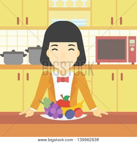 An asian woman standing in front of table full of fresh fruits in the kitchen. Woman with plate full of fruits. Healthy food concept. Vector flat design illustration. Square layout.