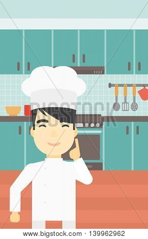 An asian chief-cooker in uniform standing in the kitchen and pointing forefinger up. Chef thinking about the recipe. Chef having an idea. Vector flat design illustration. Vertical layout.