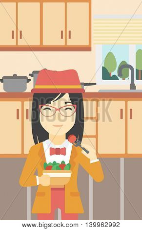An asian woman eating healthy vegetable salad. Woman eating fresh vegetable salad at home. Woman holding bowl full of salad in the kitchen. Vector flat design illustration. Vertical layout.