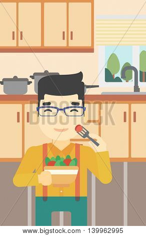An asian man eating healthy vegetable salad. Young man eating fresh vegetable salad at home. Man holding bowl full of salad in the kitchen. Vector flat design illustration. Vertical layout.