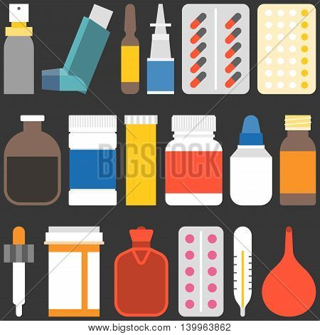 Medicine collection set 2. Bottles, tablets, capsules, sprays and equipment, flat design