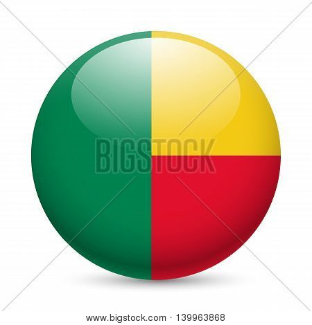 Flag of Benin as round glossy icon. Button with Beninese flag