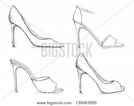 Shoes sketch set. High heels women footwear. Doodle female pump shoe collection. Pencil effect vector illustration.