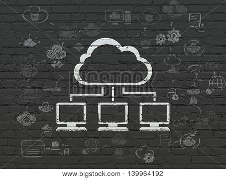 Cloud networking concept: Painted white Cloud Network icon on Black Brick wall background with Scheme Of Hand Drawn Cloud Technology Icons