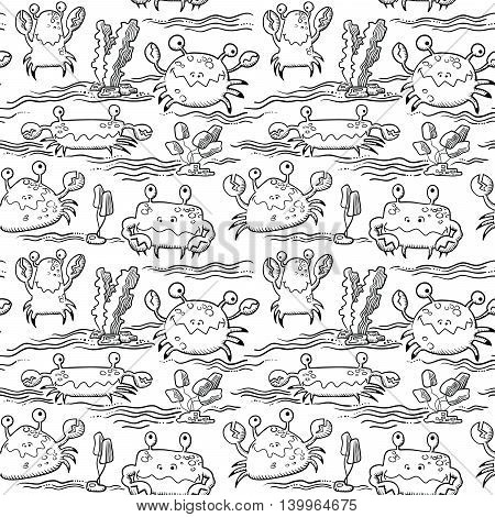 Vector doodle black and white summer seamless pattern with crab characters and water waves