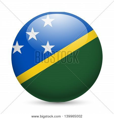 Flag of Solomon Islands as round glossy icon. Button with flag design