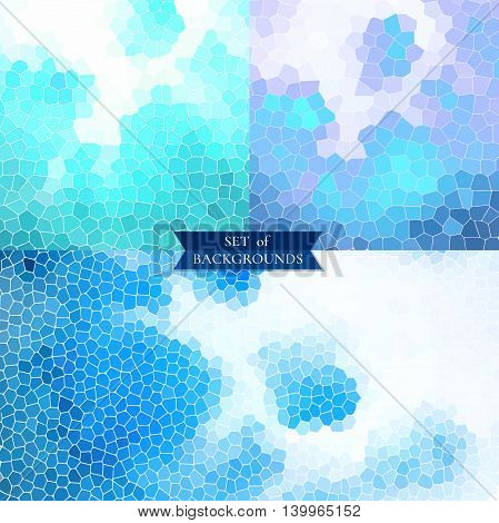 Set of blue and white backgrounds geometric textures vector