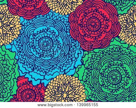 Zentangle Floral Ornament Pattern Retro
