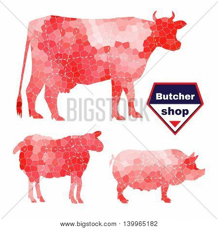 Set of farm animals for butcher shop with anatomic cut