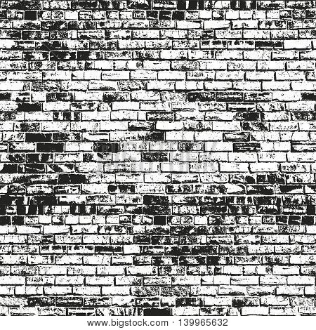 Distressed overlay texture of old brickwork grunge background. abstract halftone vector illustration.