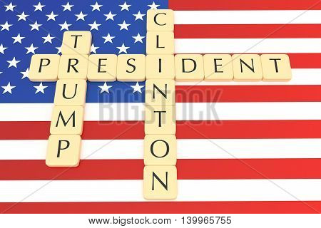 BERLIN GERMANY - JULY 26 2016: US election 2016: Letter tiles president clinton trump