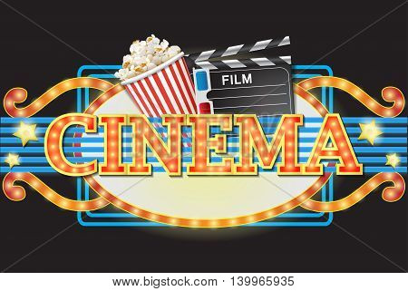 Cool cinema sign isolated on a black background
