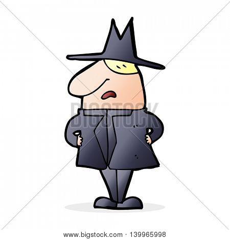 cartoon man in coat and hat