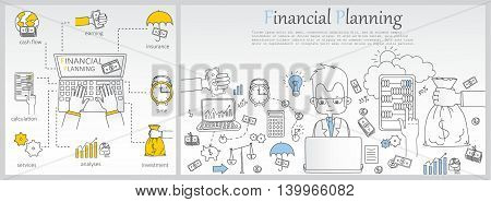 Doodle line design of web banner templates with outline icons of time management, finance planning, creative thinking.Vector illustration concept for website or infographics.