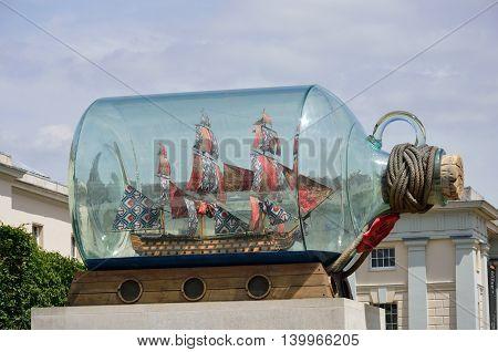 GREENWICH LONDON 25 JUNE 2015: Giant ship in a bottle